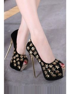Black Metallic Flower Decor Peep Toe Platform Stiletto High Heel Pumps