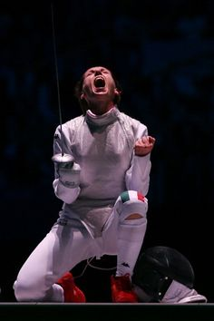 Valentina Vezzali of ITA celebrates during her Women's Foil Individual Fencing Bronze Medal Bout  Photo by Hannah Johnston/Getty Images