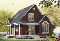 Discover the plan 3507 - Celeste from the Drummond House Plans house collection. Affordable country cottage house plan, 2 to 3 bedrooms or home office, mezzanine, covered balcony. Total living area of 1226 sqft. Cottage Style House Plans, Cottage Style Homes, Small House Plans, Small House Design, Cottage Design, Small Cottage Homes, Tiny Homes, Small Dream Homes, Small Country Homes