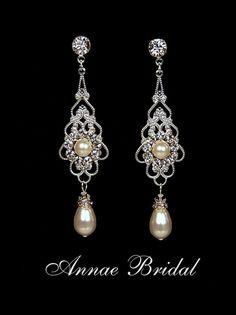 "Bridal earrings, wedding jewelry, White pearl and rhinestone earrings, Swarovski, silver, ""Princess"" earrings $30"