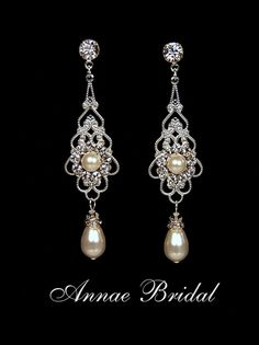 "Bridal earrings, wedding jewelry, White pearl and rhinestone earrings, Swarovski, silver, ""Princess"" earrings $30"