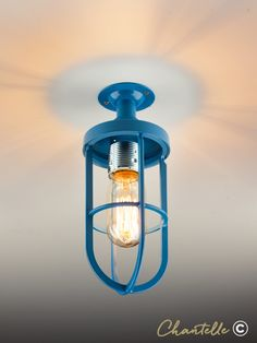 Add a splash of colour to your interior with this surface mounted blue cage pendant. Flush Lighting, Lighting Online, Color Splash, Cage, Surface, Industrial, Colour, Lights, Canning