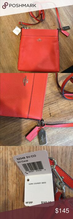"""NWT Coach Crossgrain Courier Crossbody Bag Coral. 8"""" long x 8.5"""" wide x 1"""" wide. Top zip closure. Leather. Hang tags (2). Silver hardware. 2 slip pockets. Signature lining. Long  strap. Coach care card. Coach store product! Coach Bags Crossbody Bags"""