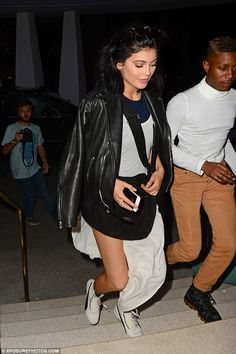 Dressed down: Kylie Jenner opted for a more relaxed style when she stepped out of her Miami hotel on Friday night as the reality star hotfooted between events taking place as part of the city's Art Basel