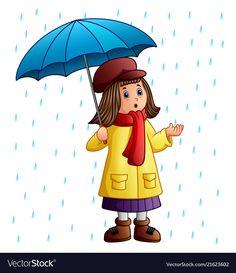 Cartoon girl with umbrella standing under the rain vector image on VectorStock Rain Clipart, Umbrella Cartoon, Picture Composition, Under The Rain, Quilling Designs, Winter Kids, Drawing For Kids, Girl Cartoon, Baby Pictures