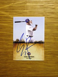 Emil Brown: (2009 New York Mets) Custom made Mets baseball card signed in blue sharpie. (From my All-Time Mets Roster collection.)