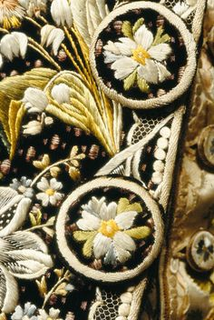 Buttons and embroidery of Court Suit, 1770-1785, Silk, velvet, satin, cotton. Worn by Sir John Thomas Stanley of Alderley, Cheshire, (6th Bt. 1735 = 1807)