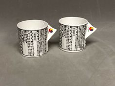 Set of 2 Han Kook 1988 Fine Bone China Tea Cup Newspaper Pattern England Tea Cup Set, Bone China, Newspaper, England, Mugs, Tableware, Pattern, Ebay, Dinnerware