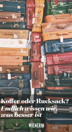 Das Für und Wider im Überblick.  #Koffer #Rucksack Tricks, Flight Attendant, Suitcase, Destinations, Knowledge