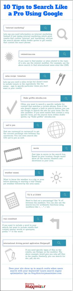 10 tips to search like a Pro using Google #infographic