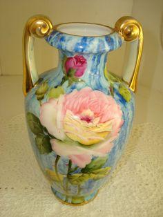 Antique/Vtg Nippon Vase  ~Gorgeous Pink Roses w/Periwinkle Blue Motif & Signed