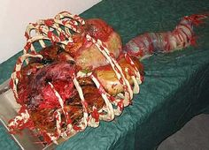 Want to bring halloween up a notch this year? Why don't you try making these disgusting and scary halloween foods. They are sure to gross out your guests. Scary Halloween Cakes, Scary Cakes, Fete Halloween, Halloween Goodies, Halloween Food For Party, Halloween Horror, Halloween Treats, Zombie Party, Halloween Stuff