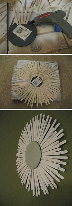 Easy DIY Starburst Mirror Made From Popsicle Sticks
