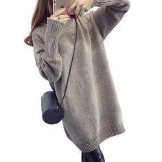 New Women's Fashion Faux Cashmere Sweaters Half High Collar Solid Color 2016 Autumn Winter Loose Long Section Knitted Pullovers