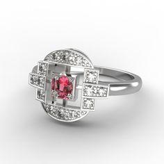 Bague argent , rubis et diamants