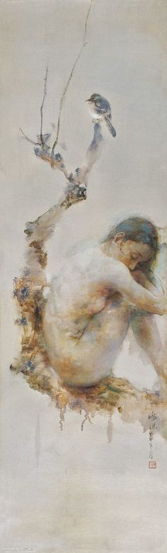 "Hu Jundi (Hu Jun Di) original oil painting - Whispering Winds  Artist: Hu Jundi (胡峻涤)  Style: Portrait, Asian  Medium: Original Oil on Canvas  Image Size: 61"" x 19""  Finish: Framed 75"" x 32"""