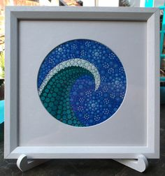 Original Wave Dot Painting-Framed in white by StripeyCatsStudio