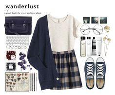 """""""wanderlust"""" by tickling ❤ liked on Polyvore featuring H&M, Converse, The Cambridge Satchel Company, Polaroid, Retrò, Bobbi Brown Cosmetics, Aesop, Rodin Olio Lusso, Iosselliani and Pier 1 Imports"""