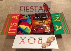 """""""It's a fiesta in a box"""" Care Package for military or college - Cinco De Mayo care package - medium flat rate box - filled with @Target mini pinata, @tabasco and snacks! Sent to Adopt a US Soldier/Project Front Lines. Made by @krity_cent"""