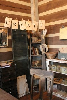 Craft space with a prim style (from A Fine Farmhouse)