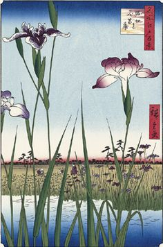 Utagawa Hiroshige (Japanese Ukiyo-e Printmaker, ca.1797 -1858) / Iris in Horikiri (Horikiri no Hana-syobu), from the series One Hundred Famous Views of Edo(Meisho Edo hyakkei)