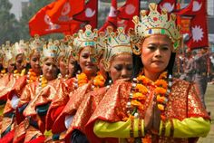 Nepalese women in their traditional dresses perform a dance during a function to observe Nepal  Fifth Republic Day, in Katmandu, Nepal, Monday, May 28, 2012. The fifth Republic Day was observed to commemorate the day when the first meeting of the elected Constituent Assembly (CA) declared Nepal a Republic and abolished the 240-year old monarchy. Photo: AP / SL    www.seattlepi.com