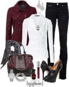 """burgundy & grey"" by enjoytheview on Polyvore"