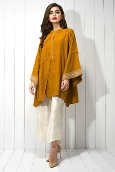 Show details for Karandi embroidered shirt Simple Pakistani Dresses, Pakistani Fashion Casual, Indian Fashion Dresses, Dress Indian Style, Pakistani Dress Design, Indian Designer Outfits, Pakistani Outfits, Designer Clothing, Stylish Dresses For Girls