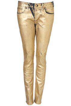 Metallic skinny jeans.