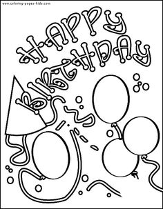 Birthday Card With Pictures Balloons Colorin For Kids