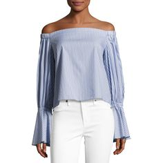 Alexis Juniper Striped Off-the-Shoulder Top ($275) ❤ liked on Polyvore featuring tops, blue pattern, women's apparel tops, blue off the shoulder top, off shoulder tops, blue long sleeve shirt, striped crop top and striped off-the-shoulder tops