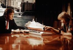 Actress Bo Derek and Donald Trump in his film debut in a scene from Epic Productions 1989 classic 'Ghosts Can't Do It'