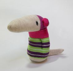 sock rat, striped green plush baby toy, stuffed baby rat
