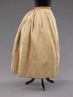 3-11-11  Petticoat  Date: 1795 Culture: French Medium: silk, cotton Dimensions: Length at CB: 36 in. (91.4 cm)