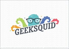 Logo for sale: Fun octopus nerd character logo design featuring a bold and colorful squid emerging from behind the name. This happy aquatic sea creature is wearing a pair of nerdy glasses to add character and style to the logo concept.