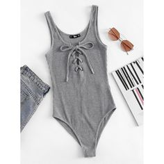 Shop Lace Up Front Rib Knit Heathered Bodysuit online. SHEIN offers Lace Up Front Rib Knit Heathered Bodysuit & more to fit your fashionable needs. Fashion Mode, Fashion Outfits, Womens Fashion, Fashion Stores, Summer Outfits, Cute Outfits, Backless Bodysuit, Jolie Lingerie, Skinny Waist