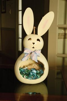"Retired - This white bunny, Willow, is approximately 8"" in diameter and 16"" tall and can hold Easter candy, decorative eggs or carrots."
