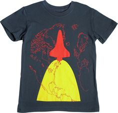 """Your girl can show off her love of outer space in this """"Blast Off"""" design from Girls Will Be! (Did you know that over 50 women have flown into outer space?) Girls Will Be t-shirts are designed with an in-the-middle fit (not too boxy, but not too fitted). Sizes 4 to 14. Made in USA."""