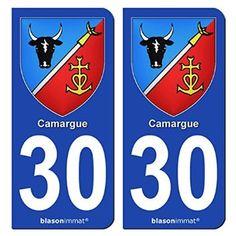 2 Autocollants de plaque d'immatriculation auto 30 Camargue - Armoiries