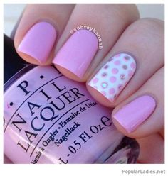 light-pink-nails-with-polka-dots