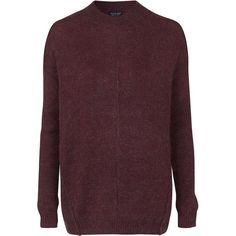 TOPSHOP Mohair Blend Sweater (3.555 RUB) ❤ liked on Polyvore featuring tops, sweaters, berry red, red sweater, red crew neck sweater, topshop tops, purple sweater and crewneck sweater