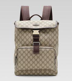 Gucci Medium Backpack 246103 in Beige/Brown Gucci Handbags, Replica Handbags, Gucci Bags, Designer Handbags, Chanel Online, Cheap Gucci, Backpacks For Sale, Leather Accessories, Urban Fashion