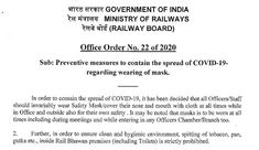 Preventive measures to contain the spread of All Officers / Staff should wear Safety Mask at all times while in Office - RAILWAY BOARD ORDER At All Times, Central Government, Safety Mask, Protective Mask, All About Time, News, Cover, Board, How To Wear