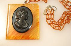 Lucite background Necklace with Black Bakelite Cameo w/ Original Chain