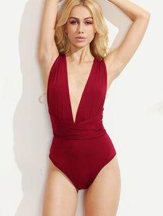 5dce1749a2 Multiway Plunge Neck Cross Wrap Bodysuit - Popviva #bodysuits #rompersuit  #toreadorpants #suspenderbelt