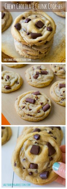 The most popular recipe on my blog. Chewy, soft-baked Chocolate Chunk Cookies. And there is no mixer required! @Sally [Sally's Baking Addiction]