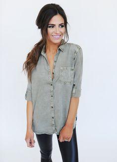 Olive Button Up Top - Dottie Couture Boutique