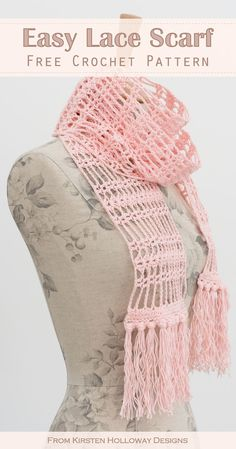Easy Lace Scarf Free Crochet Pattern for Beginners This lace scarf for women is easy enough for beginners to crochet! The DIY crochet scarf pattern uses simple stitches and pretty fringe. Diy Crochet Scarf, Crochet Scarf For Beginners, Crochet Simple, Crochet Scarves, Crochet Geek, Knitting Patterns, Easy Knitting, Start Knitting, Free Crochet Scarf Patterns