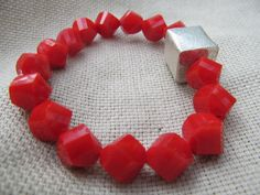 Poppy red opaque glass beads and sterling silver square finding bracelet by littlecrowshop, $35.00