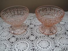 Set of Two Sherbert Dishes -Vintage  Pink Depression Glass
